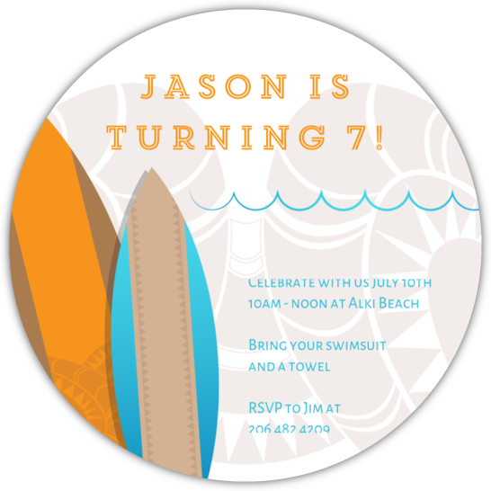 surf s up beach party birthday invitations kids birthday invitations