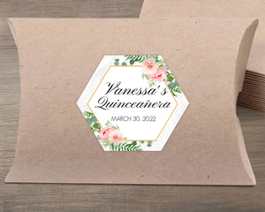 Floral Embellished Frame Favor Label