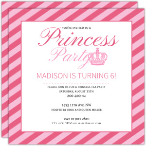 Princess birthday party invitations pink princess crown girls birthday party invitation filmwisefo