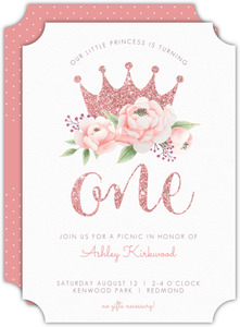 Faux Glitter Floral Crown First Birthday Invitation