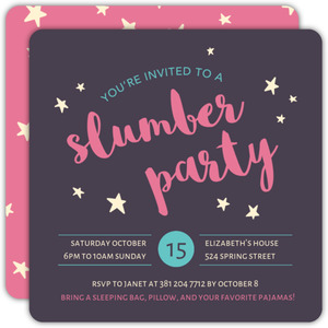 Pink and Purple Sky Slumber Party Invitation