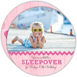 Pink Wood Grain Sleepover Party Invitation
