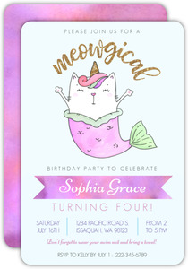 Meowgical Cat Mermaid Kids Birthday Invitations