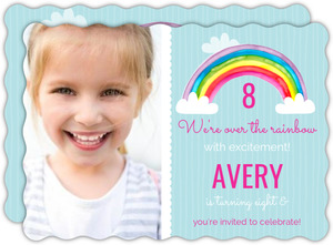 Bright Watercolor Rainbow Birthday Party Invitation