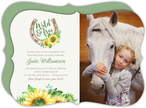 Watercolor Sunflowers Kids Birthday Party Invitation