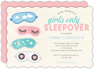 Cute Eye Masks Slumber Party Birthday Invitation