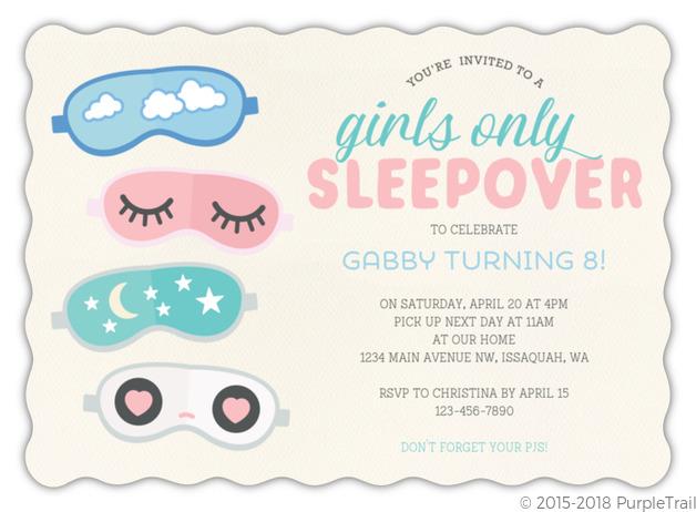 Cute Eye Masks Slumber Party Birthday Invitation Slumber Party