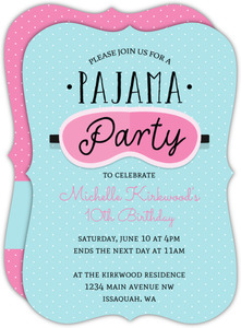 Sleeping Mask Slumber Party Birthday Invitation