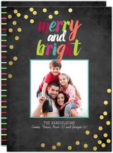 Merry and Bright Confetti Gold Foil Photo Card