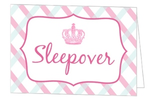Princess Pink Stripes Slumber Party Invitation