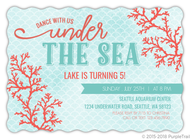Coral Watercolor Under The Sea Birthday Invitation