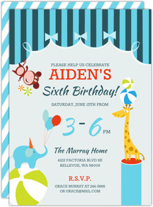 Circus Animals Birthday Party Invitation