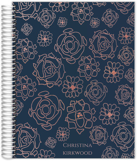 Faux Rose Gold Floral Pattern Teacher Planner