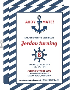 Nautical Blue Anchor Kids Birthday Invitation