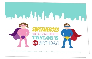 Turquoise Superheroes Birthday Invitation
