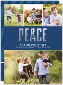 Peace Silver Foil Holiday Photo Card