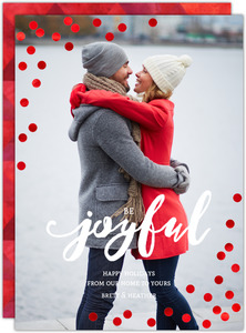 Joyful Red Foil Confetti Holiday Photo Card