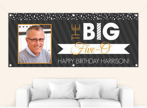 Orange Confetti 50th Birthday Party Banner