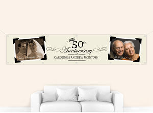 Vintage Black and Cream Photo Frame Anniversary Banner