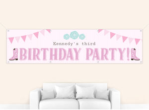 Saddle Up Cowgirl Birthday Banner