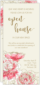Pink Peonies Business Open House Invitation