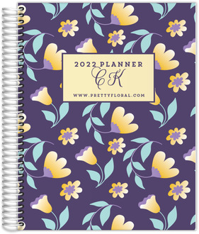 Yellow Gradient Floral Print Content Planner