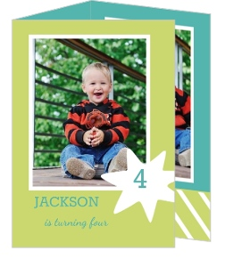 Star Boy Green And Turquoise Birthday Party Invitation