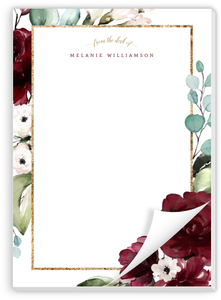 Elegant Burgundy Florals Personalized Notepad