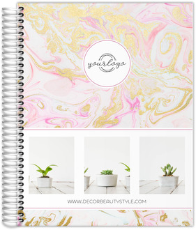 Faux Gold Water Marble Content Planner