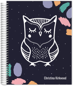 Brush Strokes Owl Monthly Planner