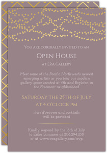 Sophisticated Faux Gold Lights Business Open House Invitation
