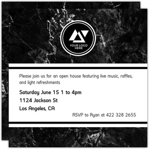 Modern Black Marble Business Open House Invitation