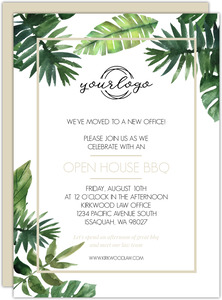 Modern Tropical Greenery Business Open House Invitation