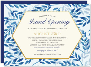 Elegant Blue Watercolor Foliage Open House Invitation