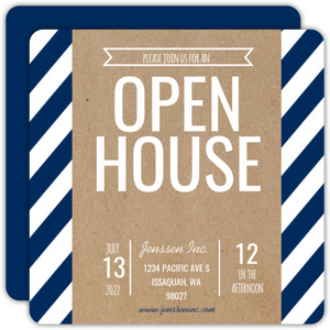 Modern Kraft Stripes Business Open House Invitation