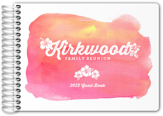 Bright Pink Watercolor Family Reunion Guest Book