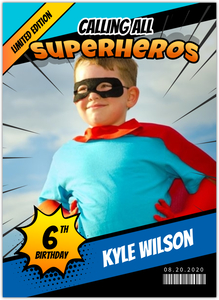 Green Superhero Photo Invitation