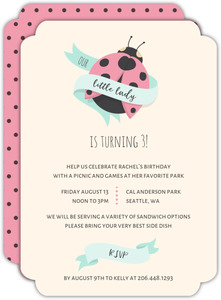 Pink and Tan Dotted Ladybug Birthday Invitation