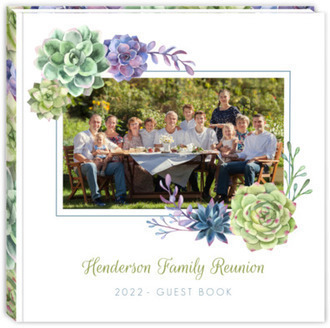 Watercolor Succulents Family Reunion Guest Book