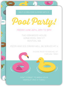 Animal Floaties Summer Pool Party Invitation