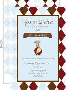 Sock Monkey Argyle Birthday Invitation