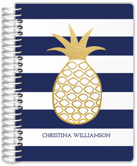 Faux Gold Pineapple Stripe Teacher Planner