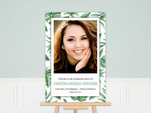 Tropical Watercolor Leaves Graduation Poster