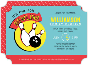 Fun Retro Bowling Family Reunion Invitation
