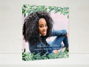Gorgeous Greenery Graduation Canvas