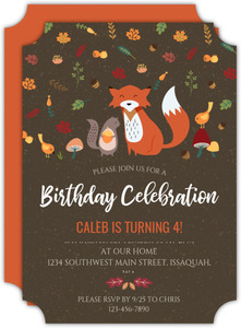Autumn Leaves Fox Kids Birthday Invitation