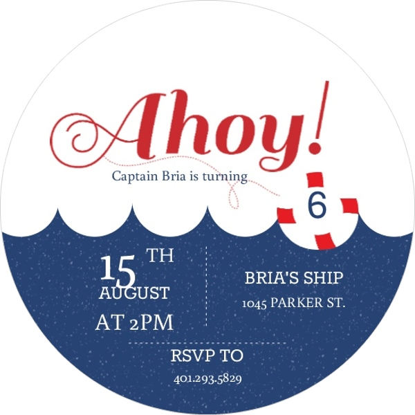 red and blue waves ahoy nautical kids birthday invitation kids