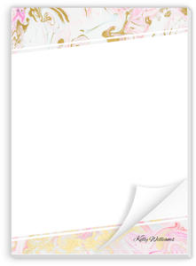 Modern Pink & Faux Gold Marble Notepad
