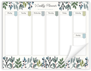 Watercolor Foliage Decor Weekly Planner Notepad