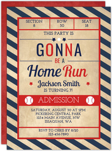 Red And Blue Baseball Birthday Invitation